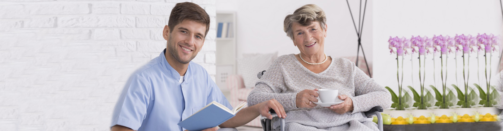 adult woman with caregiver